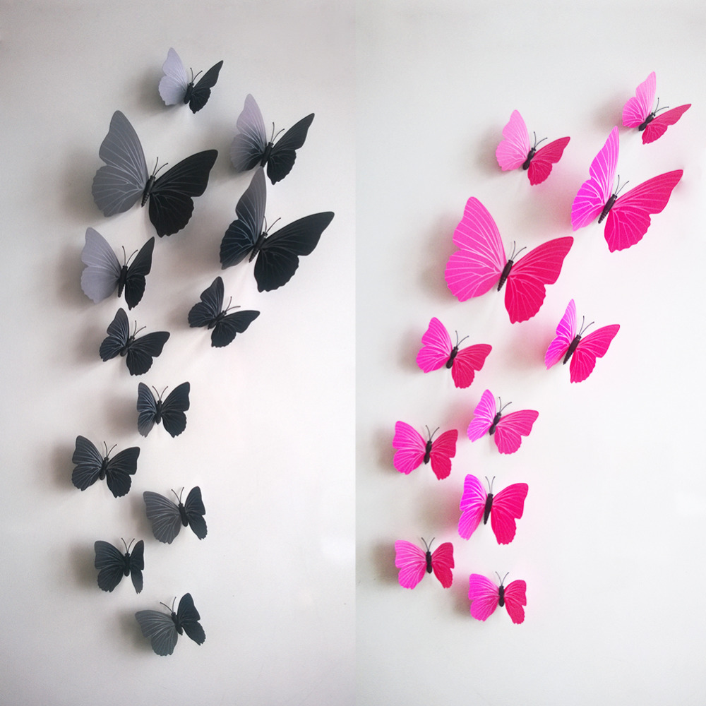 12pcs/lot 3D Butterfly Wall Stickers Wall Mural Home Decals ...