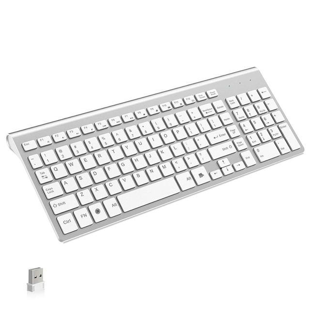 NVAHVA clavier sans fil Ultra fin 101 touches 2.4 ghz, clavier sans fil, pour boîtier Android TV Mac Win XP 7 10