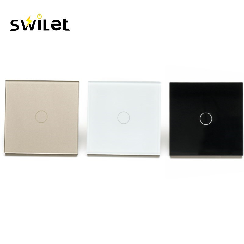 Swilet AC 110-240V 1 Gang 1 Way Smart WiFi Wall Touch Switch Panel APP Remote Control Light Switch Waterproof Glass Panel k1rf ltech one way touch switch panel ac200 240v input can work with vk remote page 7