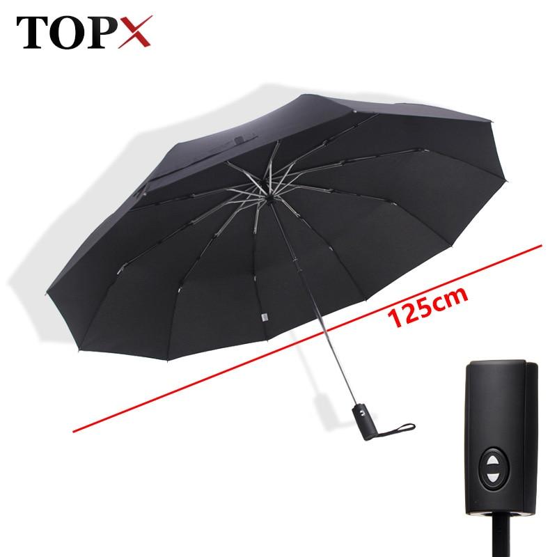 125cm Big Automatic Top Quality Umbrella Rain Women 3Fold 10K Windproof Large Outdoor Car Umbrella Men Woman Paraguas Parasol