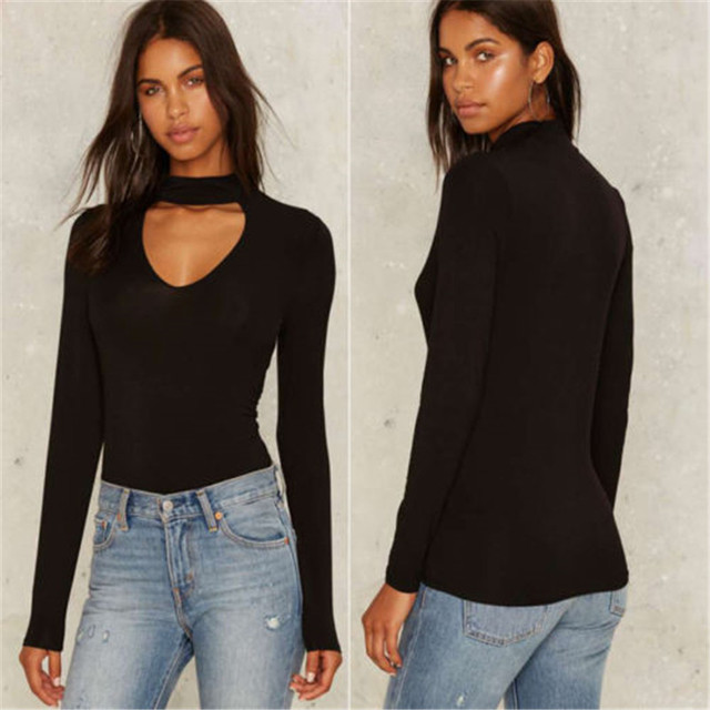 fc3448cf2b Fashion Women T-Shirt Choker V Neck autumn spring long sleeve shirts women  shirts vintage sexy tops women casual slim black top