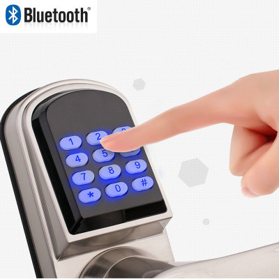 High quality Satin Chrome Smartphone Bluetooth Door Lock With Combination App, Code Manual key Keyless Lock for home apartment apartment electric door lock keyless passcode lock with mini size