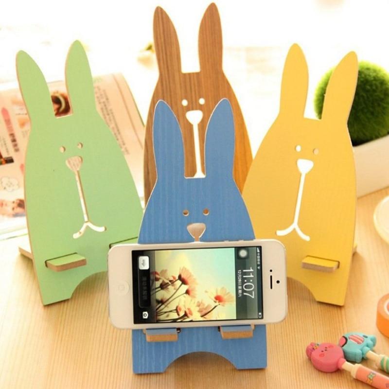 SMSNXY Mobile phone fashion holder lovely Prison break rabbit Mobile phone stents Wooden phone rack Mobile bracket