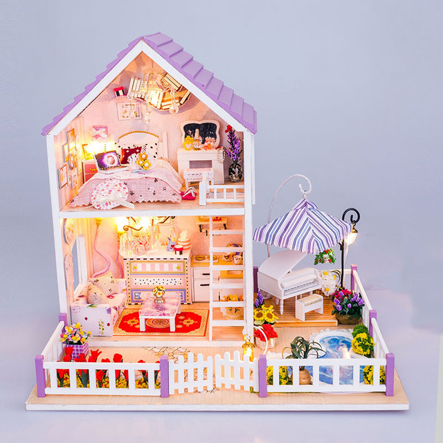 Holz Puppenhaus Pool Villa 3D Haus Modell Puzzle DIY Puppenhaus Möbel Kit  Mit LED Licht