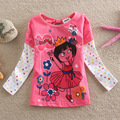 Retail New 2016 girl t shirt baby clothing children Clothes Dora 100% cotton baby girls & coats autumn-summer kids t shirt