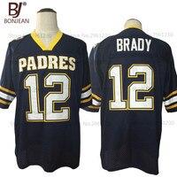 2017 New Cheap American Football Jersey Tom Brady 12 Junipero Serra Padres High School Jersey Throwback
