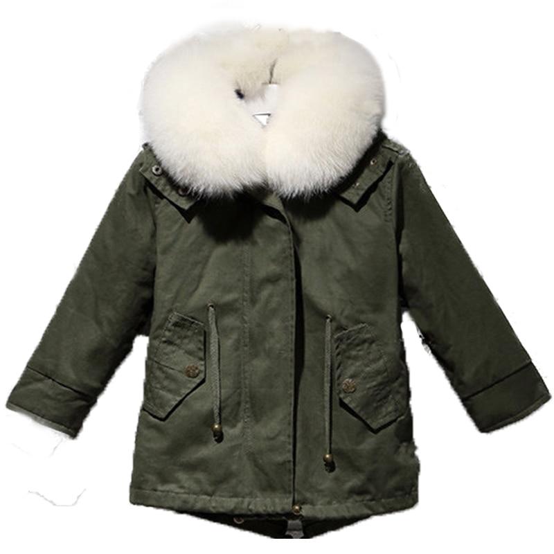 Army Green Coat Parpas Children NatualRex Rabbit Fur Coat Kids Thick Fur Coat Winter Warm Outwear V-Neck Coat Waistcoat C#03 army green v neck knot sweater