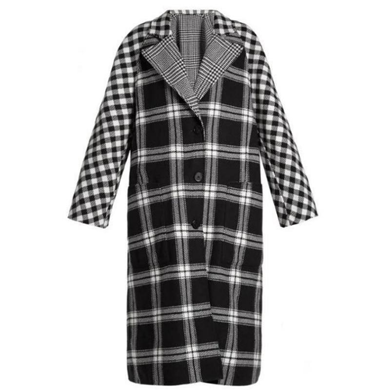 2018 Abrigo face Sobretudo Plaid Section Nouveau Femmes Noir Réel Longue Portable Mujer Hiver Femelle Manteau Double Laine Vente 4fFn0