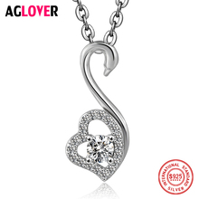 цена Charm Heart Necklace 100% Sterling Silver Woman Fashion Swan Pendant 925 Silver Necklace High Quality Crystal Female Jewelry