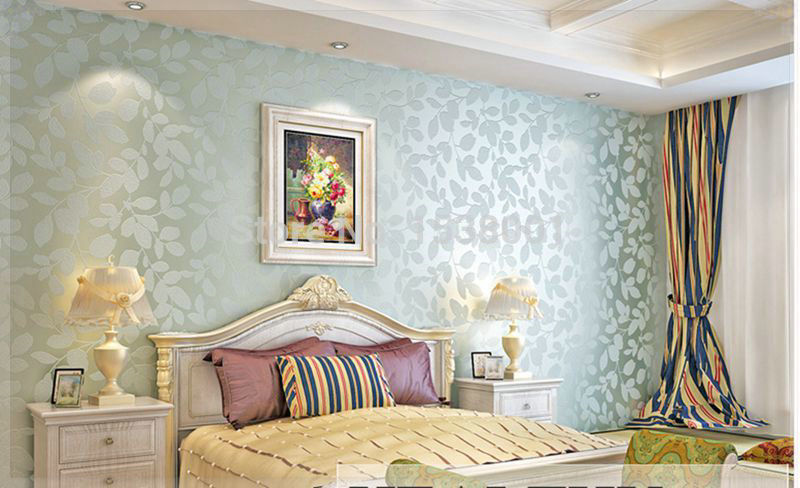 Elegant Non woven Light Blue Leaf Embossed Wallpaper Warm Bedroom Living  Room Background wallpaper 3d board wall in Wallpapers from Home Improvement  on. Elegant Non woven Light Blue Leaf Embossed Wallpaper Warm Bedroom