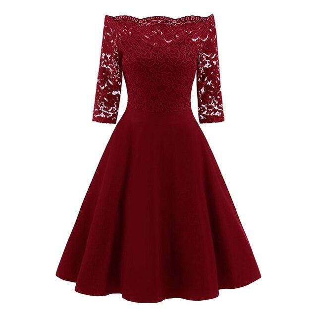 5660f0f245d Women Vintage Flare Party Dress Plus Size 5XL Lace Panel Off The Shoulder  Dress Robes 2018