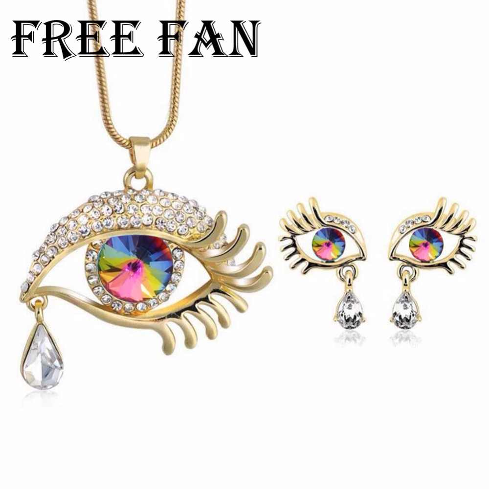 Gratis Fan Berlian Imitasi Turki Mata Jahat Perhiasan Kalung Anting-Anting Set Imiation Austria Crystal Perhiasan Parvis Bijoux Fantaisie