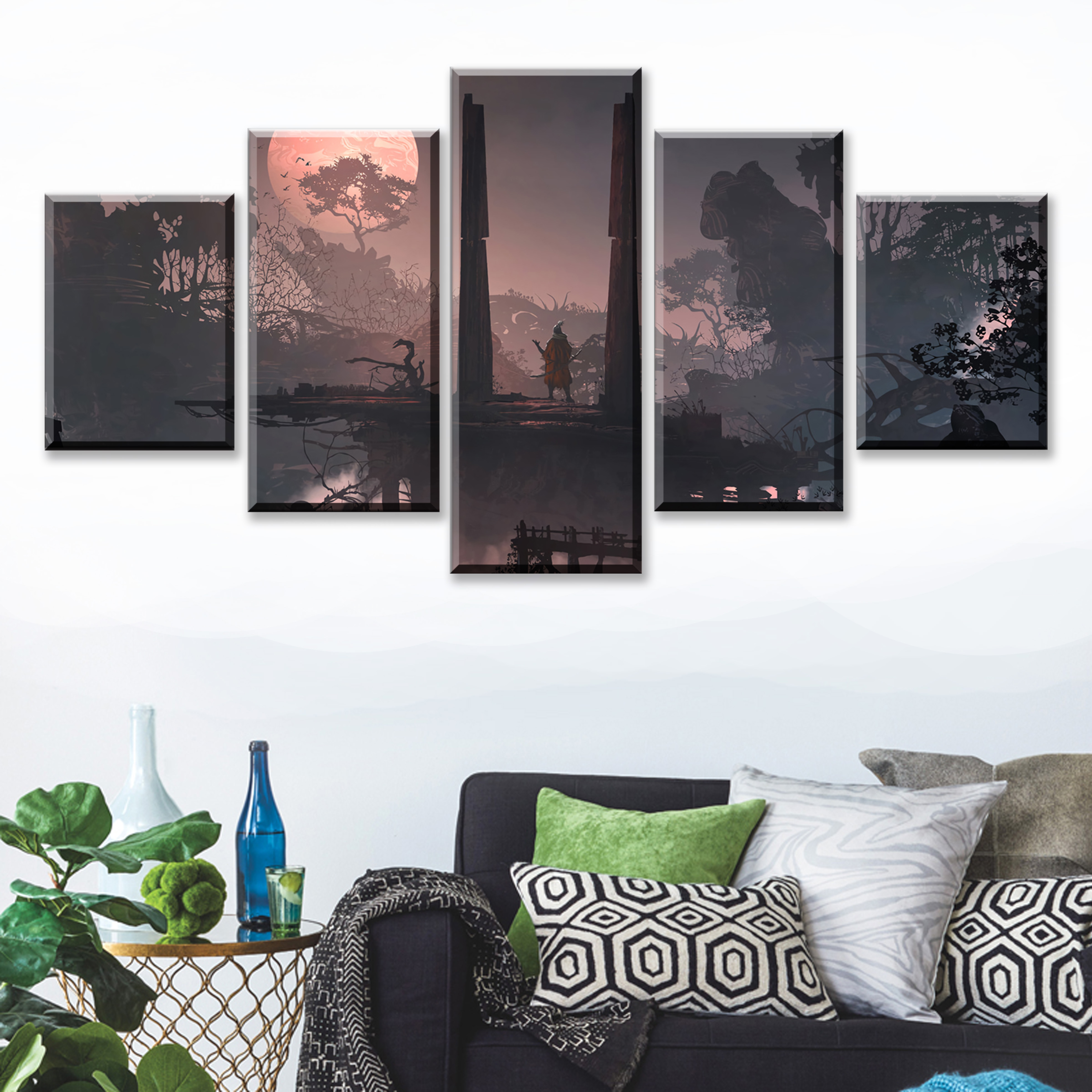 5 Piece SEKIRO Shadows Die Twice Games Art Print Canvas Paintings Framework Decoration Picture Wall for Home Decor