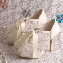 Wedopus Элегантные Свадебные Туфли На Каблуках Свадебные Летние Ботильоны Peep Toe Ленты