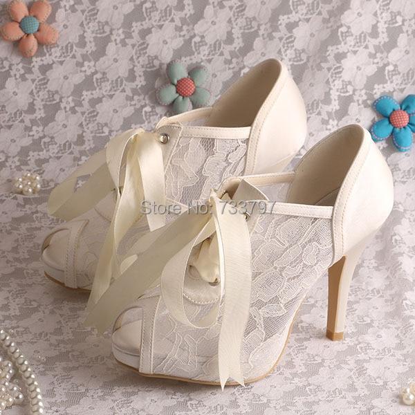 Wedopus Elegant Wedding High Heel Shoes Bridal Summer Ankle Boots P Toe Ribbon