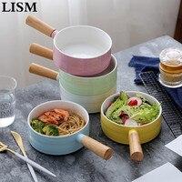 1PCS creative fruit salad bowl bamboo handle western dessert bowl breakfast snack pasta bowl ceramic tableware