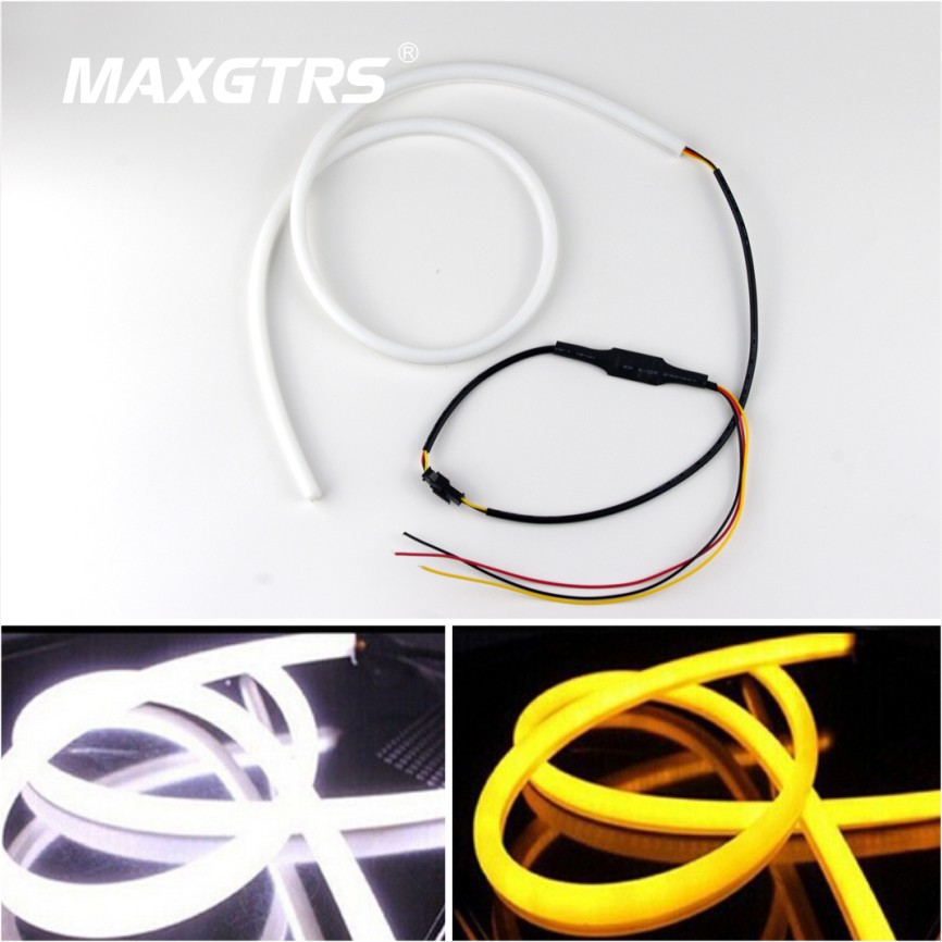 2x 30cm 45cm 60cm 85cm Car Daytime Running Light Angel Eye Flexible LED Strip Fog With Changeable Turn Signal Light Parking lamp