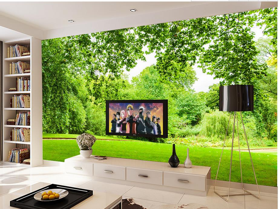 Buy 3d landscape greenery grass wall for Decor mural xxl