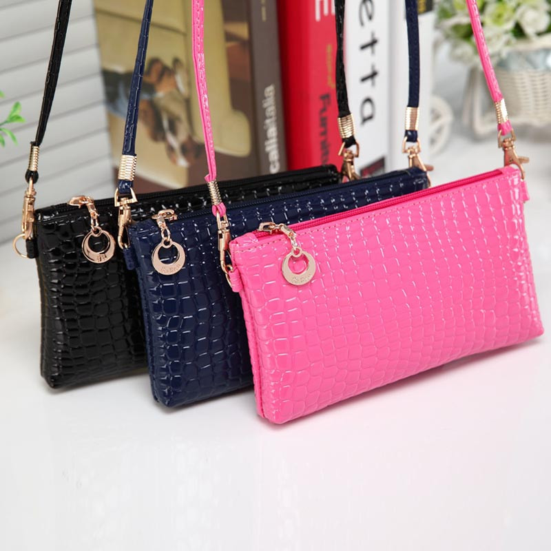 Women Fashion PU Crocodile Coin Purses Leather Messenger Clutch Coin Phone Bag A#dropship