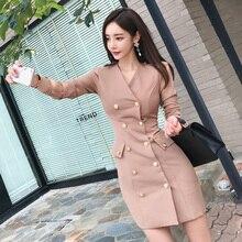 autumn dress women long sleeve casual breasted button v-neck elegant ladies dresses korean vestidos work office dress