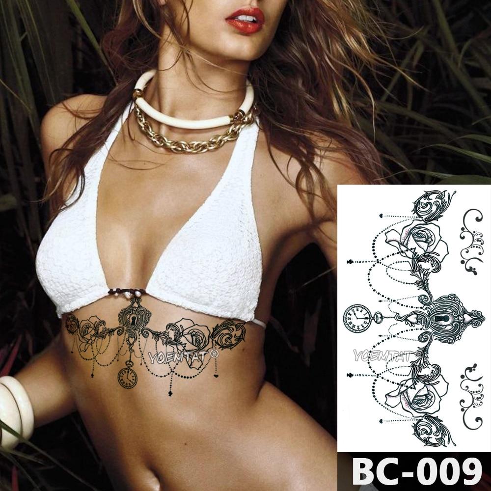 1 Sheet Chest Body Tattoo Temporary Waterproof Jewelry Clock Lace Key Lock Rose  Pattern Decal Waist Art Tattoo Sticker