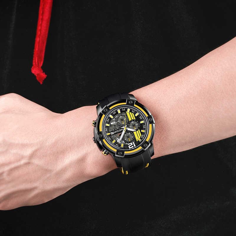 MEGIR גדול חיוג קוורץ גברים שעונים עם הכרונוגרף סיליקון צבאי ספורט שעון גברים Relogio Masculino אופנה שעוני יד