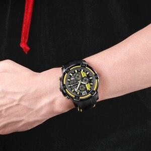Image 5 - Megir grande mostrador de quartzo relógios masculinos com cronógrafo silicone militar relógio esporte masculino moda relógios de pulso