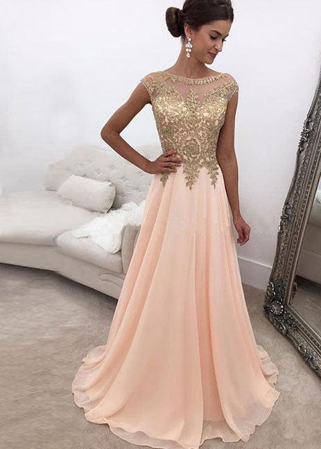 Peach Muslim   Evening     Dresses   2019 A-line Cap Sleeves Chiffon Lace Beaded Islamic Dubai Saudi Arabic Long   Evening   Gown Prom