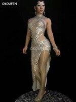 Для женщин Мода блестками Открыть юбка костюмы для ночного клуба певица DJ модели показывают Одежда для сцены вечерние платье костюм Танцы н