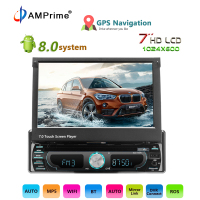 AMPrime 1 din Android 8.0 wifi Car Multimedia Player Autoradio One Din Car Radio Universal Car DVD Players GPS Navigation FM USB