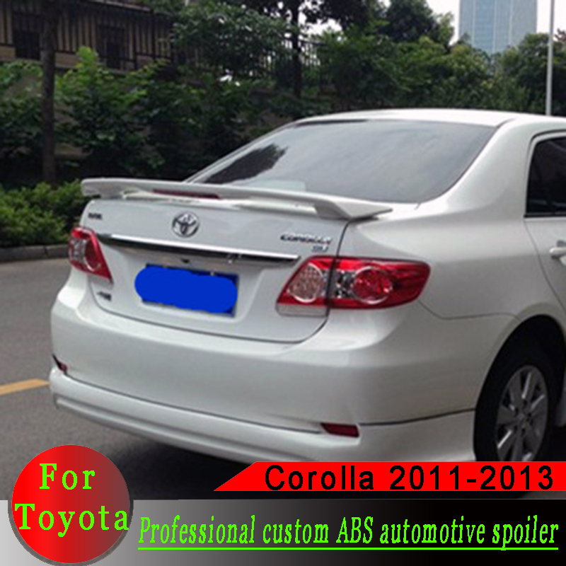 High quality ABS <font><b>spoiler</b></font> for <font><b>Toyota</b></font> <font><b>Corolla</b></font> 2001-2013 primer or black or white or silver rear wing <font><b>spoiler</b></font> with lamp image