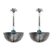 7.7cm Bohemia Antique Silver Color Blue Cystal Geometric Vintage Earrings For Women New Jewelry Bijouterie