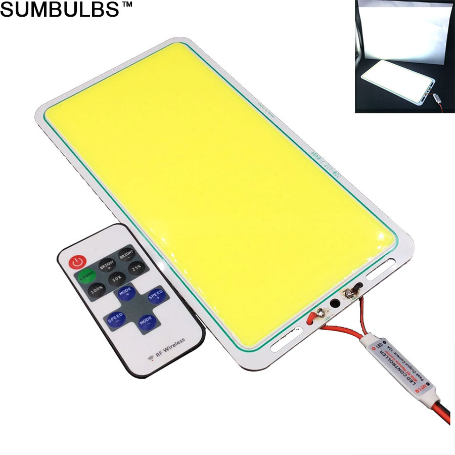 [Sumbulbs] Rectangle Waterproof 200W DC 12V COB LED Light Board with Controller for DIY Outdoor Car Camping Lights Fish Rod Lamp 5pcs lot waterproof 60cm 40cm 30cm 20cm cob strip led bar lights for car lamps diy led lighting dc 12v 10w 20w warm cold white