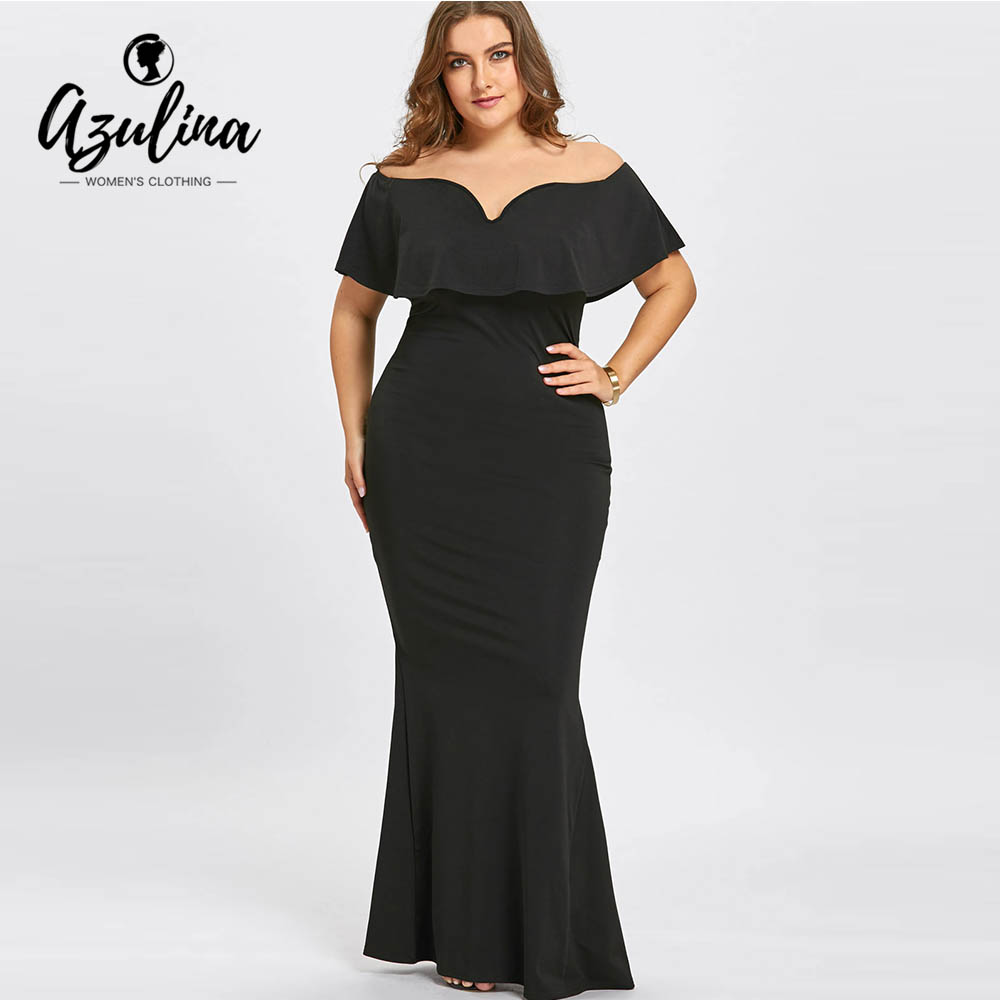 Azulina Plus Size Ruffles Off The Shoulder Mermaid Dress