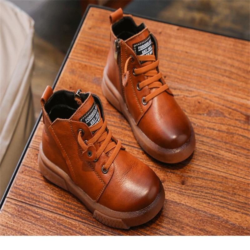 Besorgt 2018 Neue Winter Schuhe Für Kinder Echtem Leder Martin Stiefel Junge Ski Stiefel Booties Stiefel Für Mädchen Mode Turnschuhe