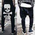 Hombres pantalones casual pantalones holgados pantalones harén la impresión del cráneo ropa para hombre macho pantalones Talla M-XXL