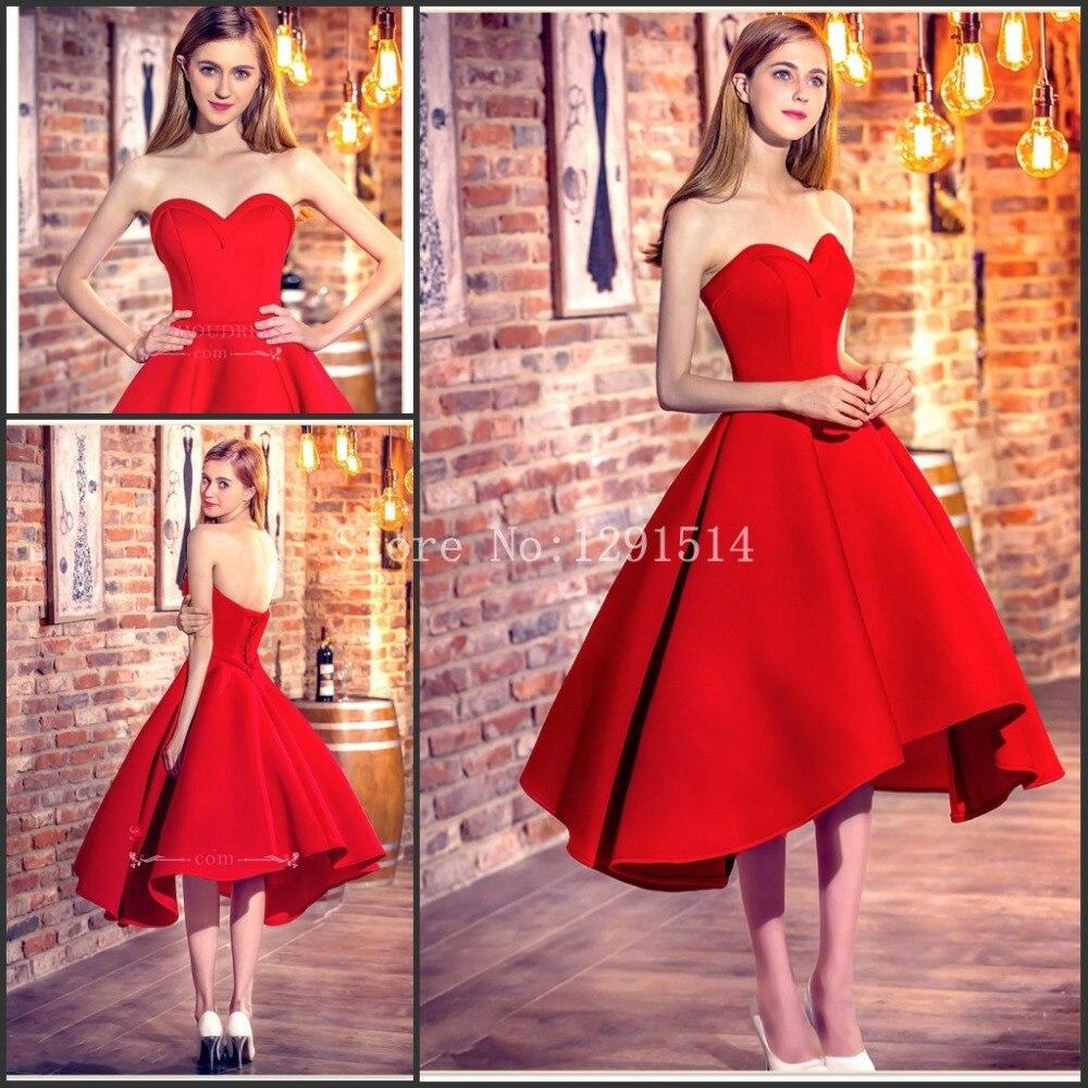Simples Cortos Vestidos de Baile 2017 Barato Vestido de Cóctel Rojo ...