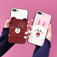For iPhone 11 Pro MAX Cute Cartoon Bear Rabbit Tempered Glass Case XS XR X 6 6S 7 8 Plus