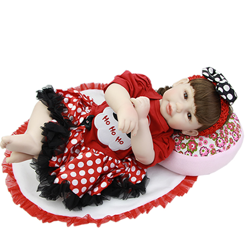 Children Christmas Gift 20 Inch Reborn Babies Newborn toy Silicone Vinyl Alive Princess Girl Baby Dolls With Santa Claus Dress