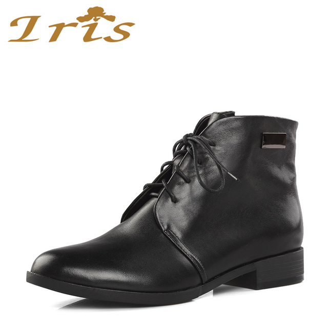 070cc7d0f864 IRIS Leather Lace Up Boots Women Black Low Heels Round Toe Supper Quality  Woman Fashion Ladies Flat Ankle Boots 2017 New