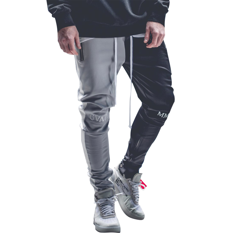July 2019  Stitching color Men Bodybuilding Gyms Pants Runners Clothing Sweatpants Pant Side Stripe Hip Pop Style Streetwear(China)