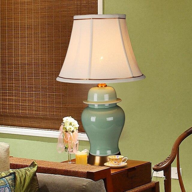 Yook E27 Décorative Chinoise 220 V De Rétro Chambre Nouvelle Céramique Lampe Table 58 Américaine Chevet 35 En Cm Led 3jq54RAL