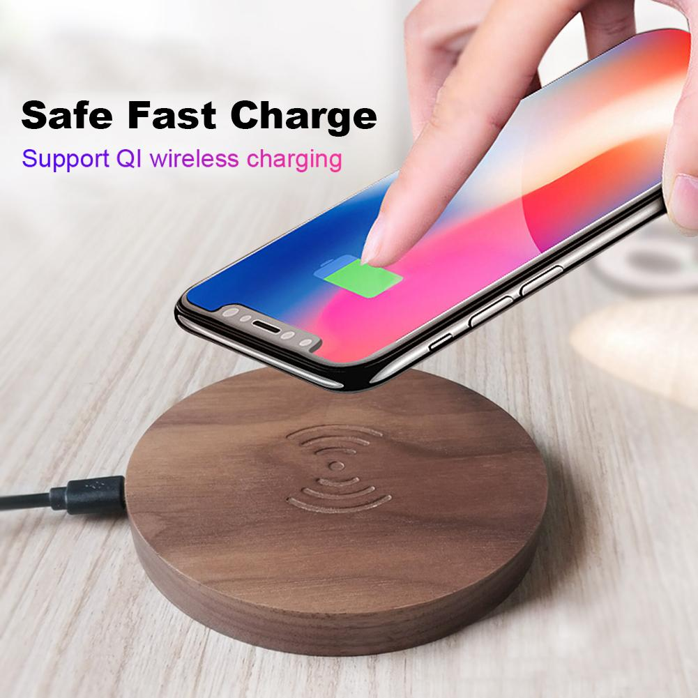 10W Round Solid Wooden Qi Fast Wireless Charger Charging Pad for Qi Enabled Device For iPhone Samsung Galaxy S8 Google Nexus4