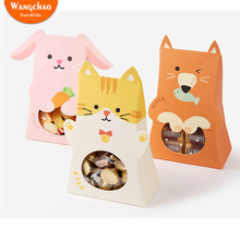 10pcs Cartoon Animal Candy Box Rabbit Cat Bear Bag  Paper Bags for Gifts Christmas Gift Home Decoration Accessories