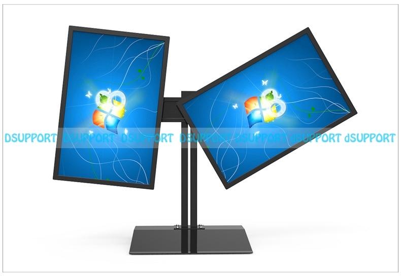 Full Rotation 15-27 Dual Screen Monitor Holder LCD TV Mount Desktop Stand Base S031