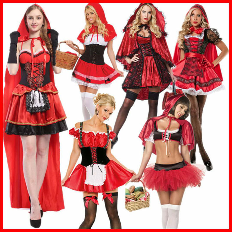 2018 High quality large size Little Red Riding Hood Christmas party dress costume cosplay princess fashion party costume