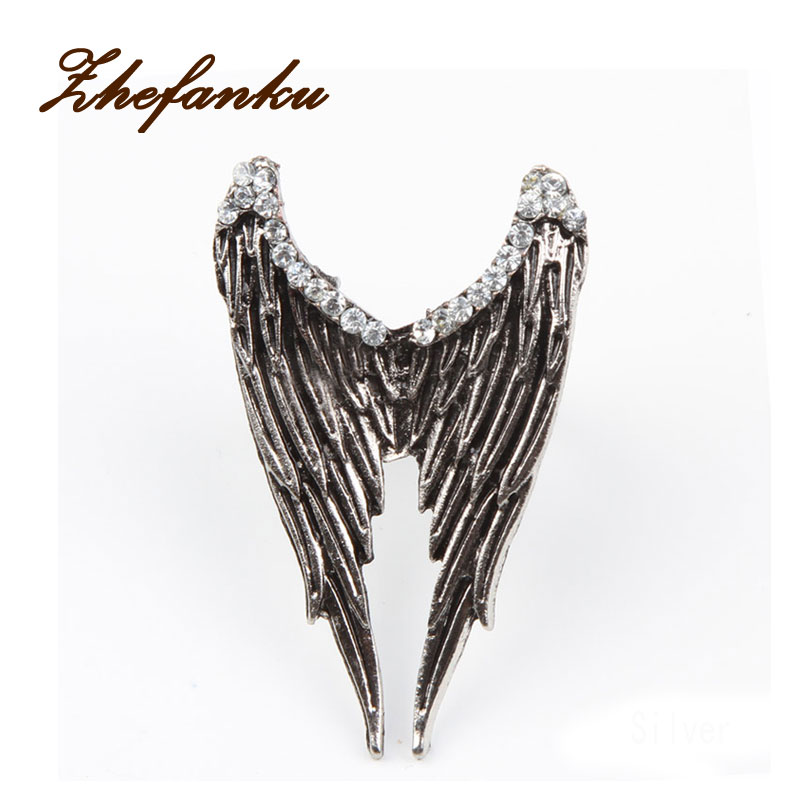 Fashion Vintage Antique Brass Angel Wings Pattern Adjustable Woman Ring 2 Colors Charming Fine Jewelry Accessories RING-0073
