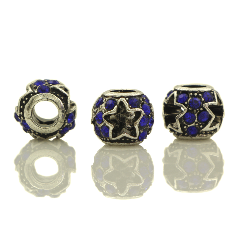20pcs Blue Crystal Tibetan Silver Plated Carved Star Spacer European Big Hole Beads For DIY Jewelry Charms Bracelets Accessories