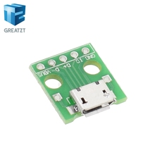 1pcs MICRO USB to DIP Adapter 5pin female connector B type pcb converter pinboard 2.54