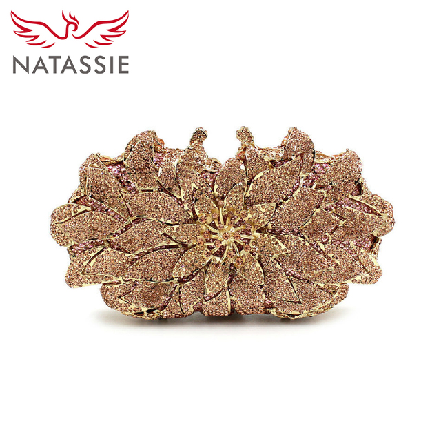 3c94338983 NATASSIE New Luxury Flower Crystal Clutch Evening Bag Women Wedding Party  Purses Sisters Champagne Gold and
